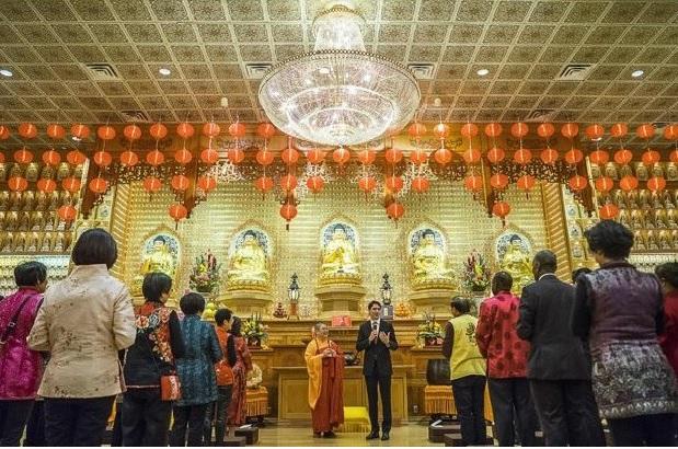 杜鲁多总理庆中国新年  除夕多伦多佛光山拜年祈福