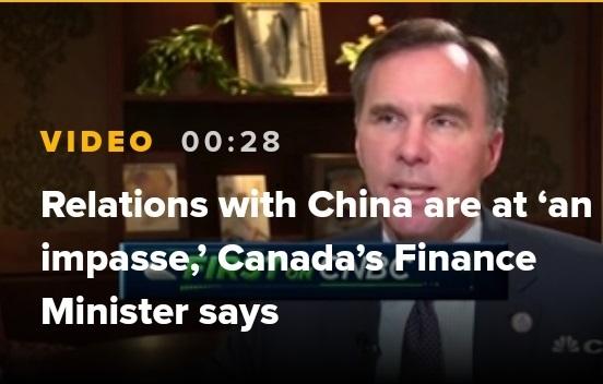 """加拿大财政部长表示加拿大与中国关系""""陷入僵局"""""""